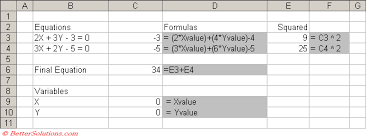 excel data ysis simultaneous equation