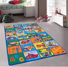 Amazon Com Champion Rugs Kids Area Rug Abc Transportation Cars Trucks Trains Space Ship Learning Playtime Carpet 3 Feet X 5 Feet Baby