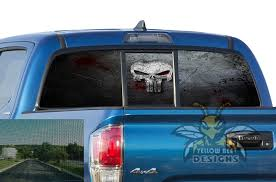 Skull Punisher Perforated Decals Sun Protection Decals Toyota Tacoma