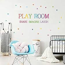Amazon Com Playroom Wall Decals H2mtool Removable Word Art Quotes Wall Decor Stickers With Stars For Nursery Kids Room Decoration Playroom Arts Crafts Sewing