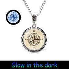 compass rose glowing necklace