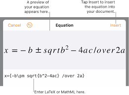 mathematical equations in pages on ipad