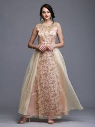 Gowns - Beige gold silk gown with crystal and pearl work on the ...