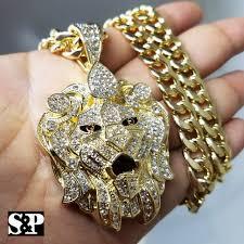 gold pt cz big lion head pendant 10mm