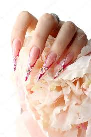 manicured acrylic nails stock photo