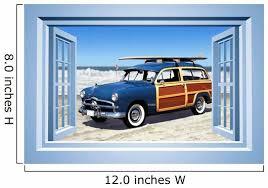 Woodie Car Beach Wallmonkeys Wall Decal Wallmonkeys Com