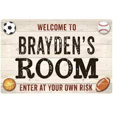 Brayden S Room Kids Bedroom Sign Boy S Personalized 8x12 Metal 108120090081 Walmart Com Walmart Com
