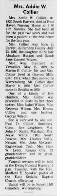 Obit for Addie Wilson Collier - Newspapers.com