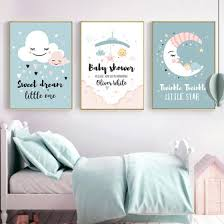 Shop Canvas Painting Cloud Moon Star Heart Dream Picture Poster Wall Kids Room Decor Online From Best Arts Crafts On Jd Com Global Site Joybuy Com