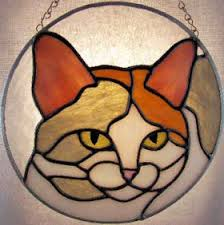 calico cat stained glass suncatcher