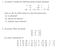 when a system of linear equations has