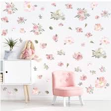 Amazon Com Toarti Watercolor Pink Flowers Wall Decal Blooming Peony Floral Flowers Sticker For Girls Bedroom Wedding Party Decoration 56pcs Colorful Flowers Arts Crafts Sewing
