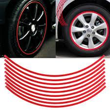 Red Reflective Car Motorcycle Wheel Rim Tape Stripe Decal Sticker 8mm Universal