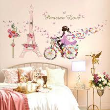 Paris Eiffel Wall Stickers Romantic Flower Decals Girls Bedroom Decorations For Sale Online