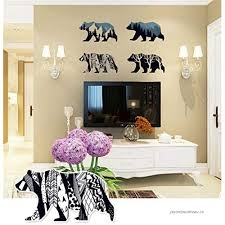 Bibitime Snow Mountain Forest Tree Polar Bear Silhouette Sticker Animal Wall Decal For Living Room Porch