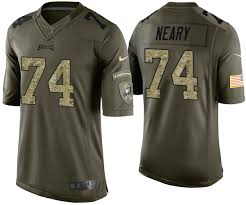 Eagles #74 Aaron Neary Green Camo Salute to Service Stars ...