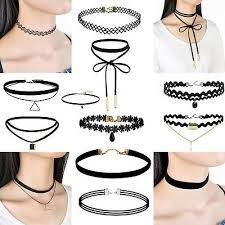 black leather choker necklace silver