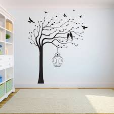 Tree Wall Decal Sticker Bedroom Tree Of Life Roots Birds Flying Away Home Decor Bird Cage On The Tree A7 003 Wall Stickers Aliexpress