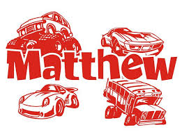 Personalized Name With Cartoon Cars Decal Sticker