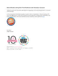 Dave & Buster's Hiring Part-Time Positions at the Veranda in Concord Abigail  Idiaquez | Konnect Agency 888 S. Figueroa Stree