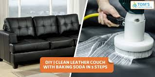 clean leather couch with baking soda