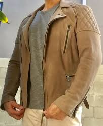 cargo quilted leather biker jacket