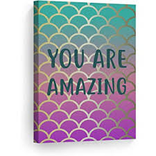 Amazon Com Smile Art Design You Are Amazing Quote Mermaid Decor Canvas Print Kids Room Decor Wall Art Baby Room Decor Nursery Decor Ready To Hang Made In The Usa 12x8 Posters