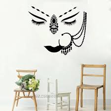 New Design Vinyl Wall Decal India Hindu Girl Face Eyes Piercing Beautiful Woman Face Wall Sticker For Bedroom Home Decor Lc549 Wall Stickers Aliexpress