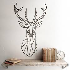 Wall Sticker Origami Geometric Deer Head Muraldecal Com