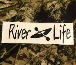 Black Lettering River Life Decal With Kayak Logo Vinyl Decal Ebay