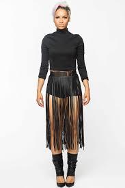 outer fringe faux leather skirt flyjane