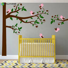 Swirly Tree Wall Decal With Birds Nursery Decal Corner Tree Kids Branches Leaves Singing Whimsical Birds Crib Home Decor Art A59 Tree Wall Decal Wall Decalsdecoration Art Aliexpress