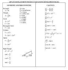 college board ap physics equation sheet