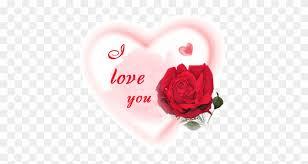 heart glitter rose with i love u