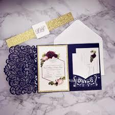 Compre Azul Marino Kits De Invitacion De La Boda Con La Tarjeta De