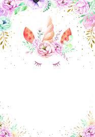 Floral Unicorn Birthday Invitation Template Free Greetings