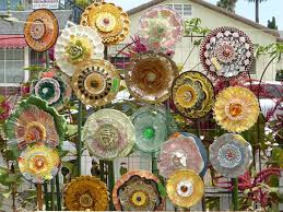 garden yard art glass and ceramic plate