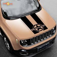 Product 2015 2019 Rally Distressed Star Renegade Jeep Vinyl Hood Decal Graphic