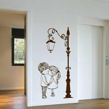 Hot Deal F82fde Wall Decal Vinyl Sicker Street Lamp Post Light With Two Lovely Cute Boy And Girl Couple Wall Art Mural Living Room Decor Ww 232 Cicig Co