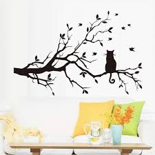 Amazon Com Daweif Cat On The Tree Branch With Birds Wall Sticker Simple Black Decorative Removable Diy Vinyl Wall Decals Living Room Bedroom Family Wall Mural Home Kitchen