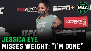 """Jessica Eye misses weight for UFC main event: """"I'm done guys, I don't think  I can stand"""" - YouTube"""