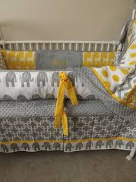 baby cribs gray and yellow elephant