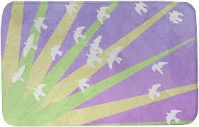 Amazon.com: ArtVerse Katelyn Smith Birds and Sunset Bath Mat, 24 x 17,  Green Yellow & Purple: Home & Kitchen