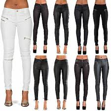 womens leather trousers black wet look