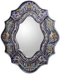 glass spring violets wall mirror