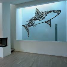 Amazon Com Great White Shark Vinyl Wall Decals Children Bedroom Wall Sticker Awesome Shark Creatures Decor Large Black Home Kitchen
