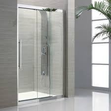 3 panel sliding glass shower door view