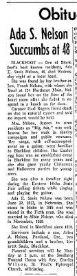 Nelson, Ada obituary, Jan 5 1962, Id State Journal (Pocatello, ID ...