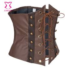 brown leather lace up steampunk corset
