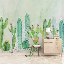 Modern Childrens Room Hand Painted Green Plant Cactus 3d Photo Wallpapers For Living Room Bedroom Kids Room Decor Wall Paper 3d Wallpapers Aliexpress